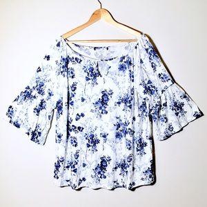 2X Flounce Sleeve Floral Patterned Boho Blouse